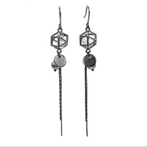 Black elegant crystal tassel earrings